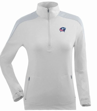 Columbus Blue Jackets Womens Succeed 1/4 Zip Performance Pullover (Color: White)
