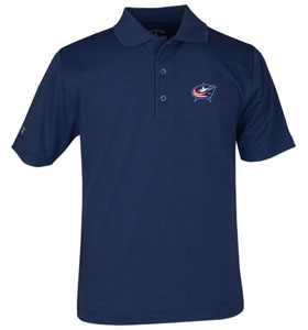 Columbus Blue Jackets YOUTH Unisex Pique Polo Shirt (Team Color: Navy) - Medium