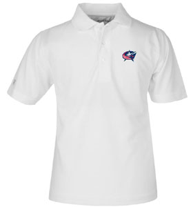 Columbus Blue Jackets YOUTH Unisex Pique Polo Shirt (Color: White) - Large