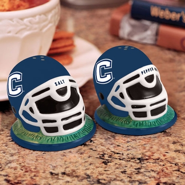 Connecticut Helmet Ceramic Salt and Pepper Shakers