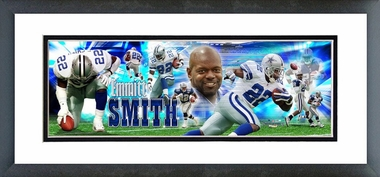 Cowboys - Emmitt Smith Framed / Double Matted Photoramic