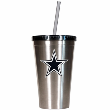 Dallas Cowboys 16oz Stainless Steel Insulated Tumbler with Straw