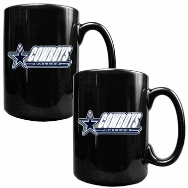 Dallas Cowboys 2 Piece Coffee Mug Set (Wordmark)