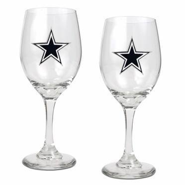 Dallas Cowboys 2 Piece Wine Glass Set