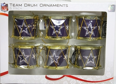 Dallas Cowboys 2012 Plastic Drum 6 Pack Ornament Set