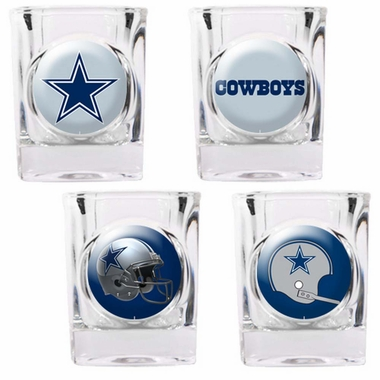Dallas Cowboys 4 Piece Assorted Shot Glass Set