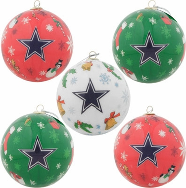 Dallas Cowboys 5 Pack Decoupage Ball Ornament Set