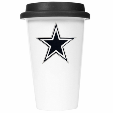 Dallas Cowboys Ceramic Travel Cup (Black Lid)