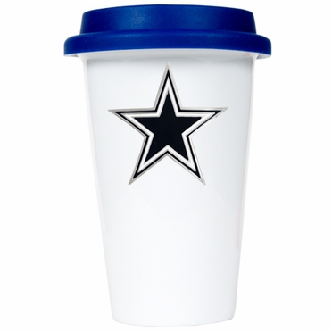Dallas Cowboys Ceramic Travel Cup (Team Color Lid)