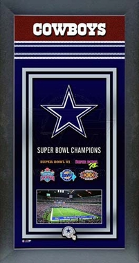 Dallas Cowboys Framed Championship Banner