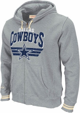 Dallas Cowboys Mitchell & Ness Stadium Vintage Grey Full Zip Premium Hooded Sweatshirt