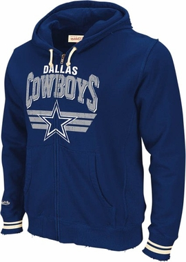 Dallas Cowboys Mitchell & Ness Stadium Vintage Navy Full Zip Premium Hooded Sweatshirt