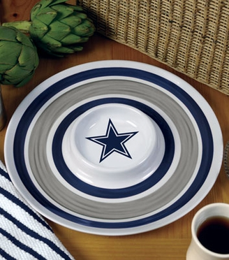 Dallas Cowboys Plastic Chip and Dip Plate