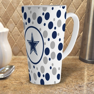 Dallas Cowboys Polkadot 16 oz. Ceramic Latte Mug