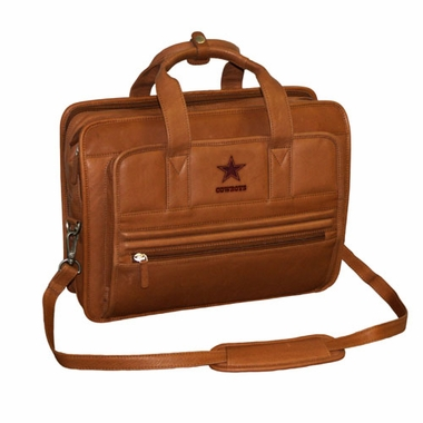 Dallas Cowboys Saddle Brown Leather Briefcase