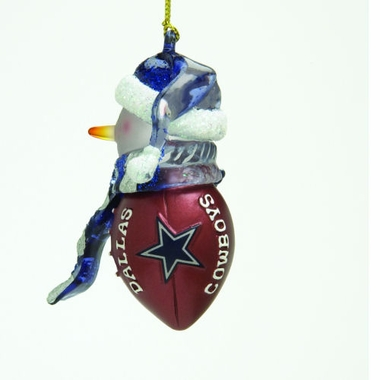 Dallas Cowboys Striped Acrylic Touchdown Snowman Ornament (Set of 4)