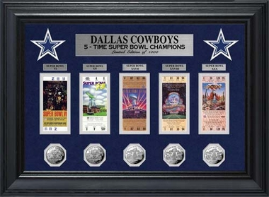 Dallas Cowboys Dallas Cowboys Super Bowl Ticket and Game Coin Collection Framed