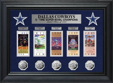 Dallas Cowboys Super Bowl Ticket and Game Coin Collection Framed