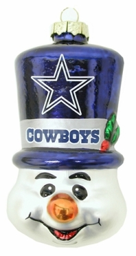 Dallas Cowboys Tophat Snowman Glass Ornament