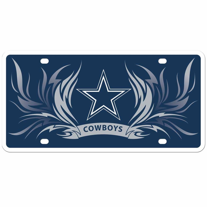 Dallas Cowboys Tribal Flame Styrene License Plate F