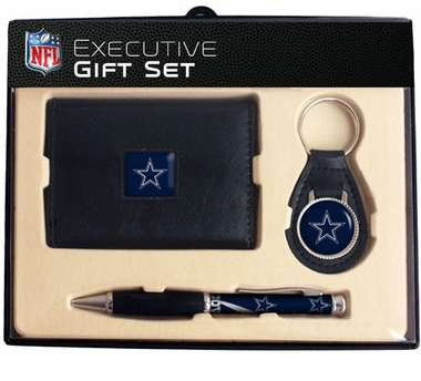Dallas Cowboys Trifold Wallet Key Fob and Pen Gift Set