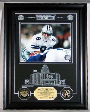 Dallas Cowboys Troy Aikman HOF Archival Etched Glass Photomint
