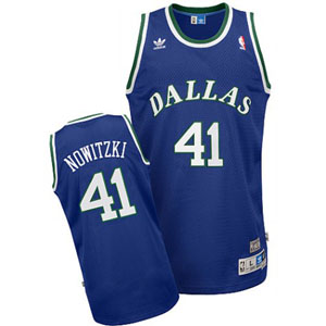 Dallas Mavericks Dirk Nowitzki Adidas Team Color Throwback Replica Premiere Jersey - Large