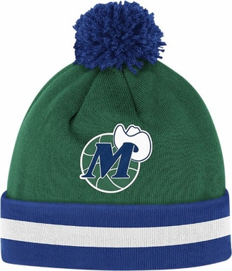 Dallas Mavericks Vintage Jersey Stripe Cuffed Knit Hat w/ Pom