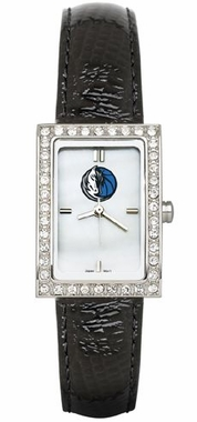Dallas Mavericks Women's Black Leather Strap Allure Watch