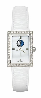 Dallas Mavericks Women's White Leather Strap Allure Watch