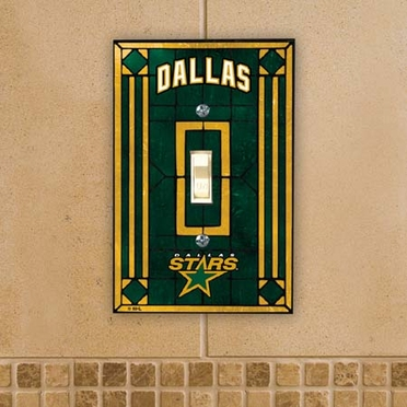 Dallas Stars Art Glass Lightswitch Cover