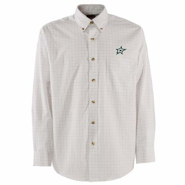 Dallas Stars Mens Esteem Check Pattern Button Down Dress Shirt (Color: White)