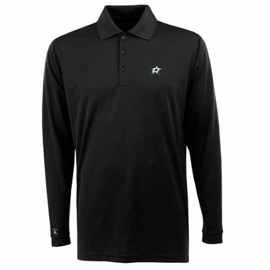 Dallas Stars Mens Long Sleeve Polo Shirt (Team Color: Black)