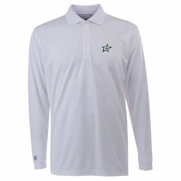 Dallas Stars Mens Long Sleeve Polo Shirt (Color: White)