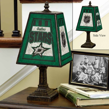 Dallas Stars Small Art Glass Lamp