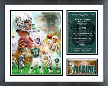 Dan Marino -  Hall Of Fame Class Of 2005 - Framed Milestones & Memories