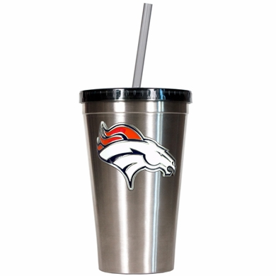 Denver Broncos 16oz Stainless Steel Insulated Tumbler with Straw