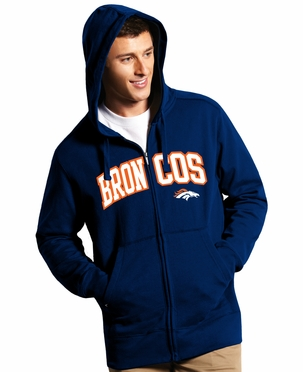 Denver Broncos Mens Applique Full Zip Hooded Sweatshirt (Team Color: Navy)