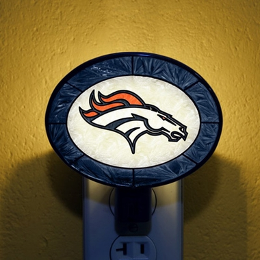 Denver Broncos Art Glass Night Light