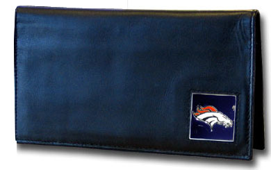 Denver Broncos Black Leather Checkbook Cover