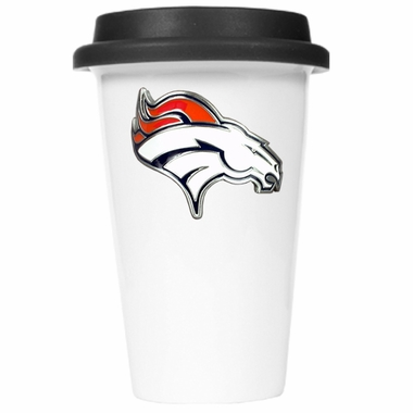 Denver Broncos Ceramic Travel Cup (Black Lid)