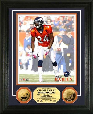 Denver Broncos Champ Bailey 24KT Gold Coin Photo Mint
