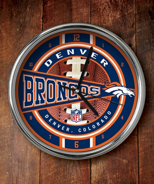 Denver Broncos Chrome Clock