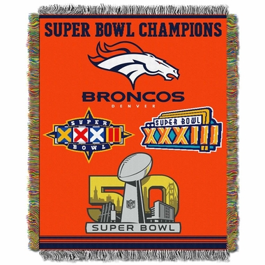 Denver Broncos Commerative Jacquard Woven Blanket
