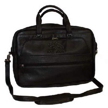 Denver Broncos Debossed Black Leather Laptop Bag