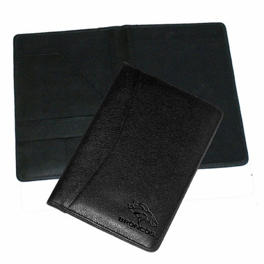 Denver Broncos Debossed Black Leather Portfolio