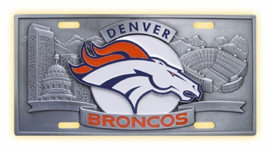 Denver Broncos Deluxe Collector's License Plate