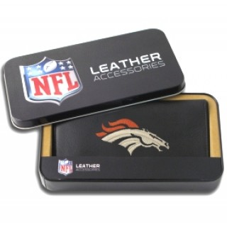 Denver Broncos Embroidered Leather Checkbook Cover