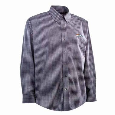 Denver Broncos Mens Esteem Check Pattern Button Down Dress Shirt (Team Color: Navy)