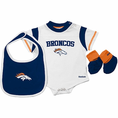 Denver Broncos Infant 3 Piece Creeper Bib Bootie Set